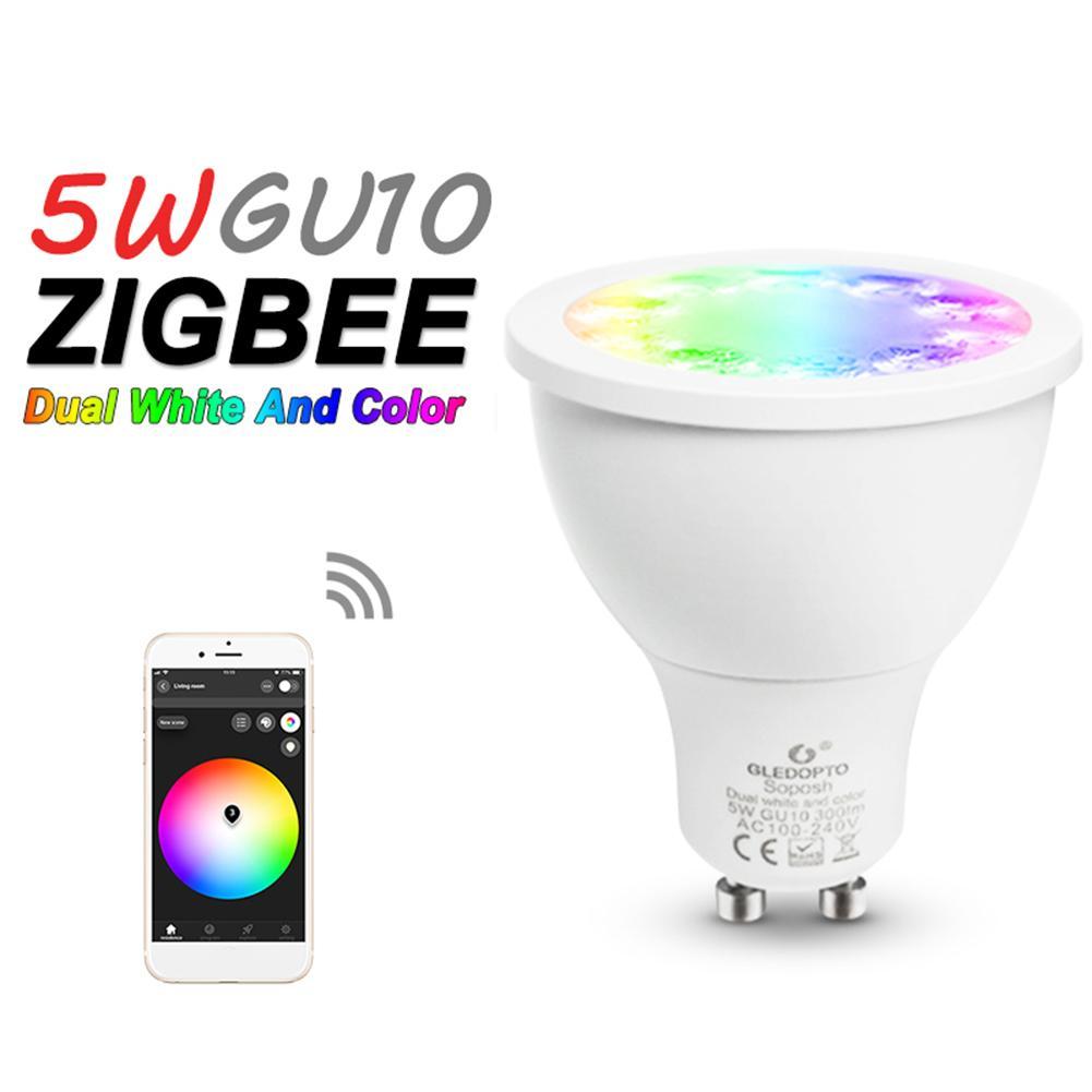 GLEDOPTO, Bombilla RGB de 30 grados 5W Zigbee con Control de aplicación GU10 + bombilla de foco LED CCT, AC100-240V para el hogar inteligente
