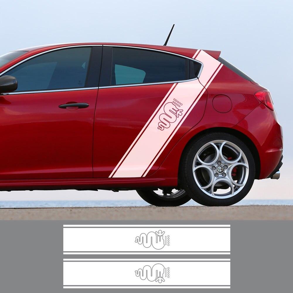 Para alfa romeo 159 147 giulietta stelvio 4c mito 156 giulia sportiva duetto acessórios 2 pçs porta lateral do carro corpo adesivos decalques