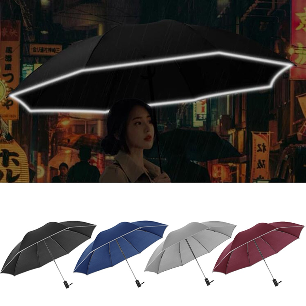 Paraguas automático inversa de negocios paraguas con tiras reflectantes