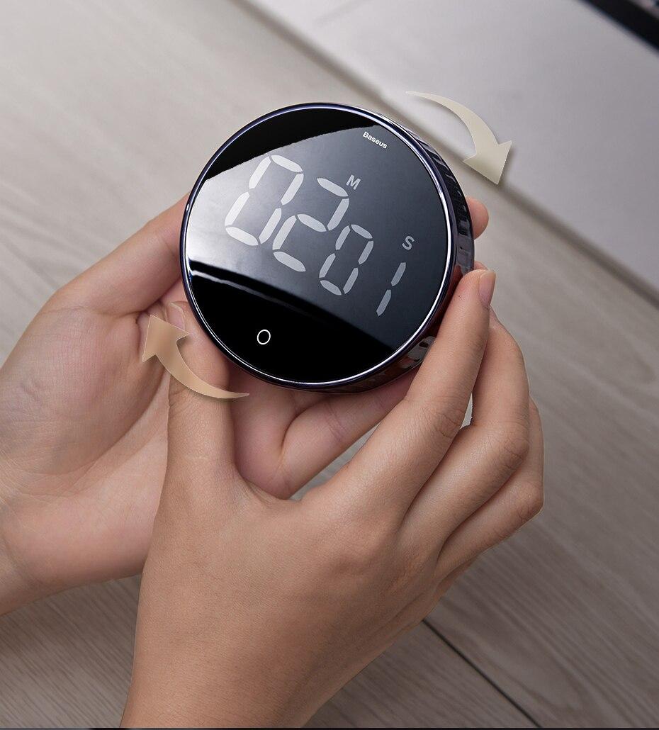 Baseus, temporizadores digitales magnéticos, cuenta atrás Manual, cronómetro de cocina, cuenta atrás, reloj despertador, cronómetro mecánico de cocina, Alarma para encimera, reloj