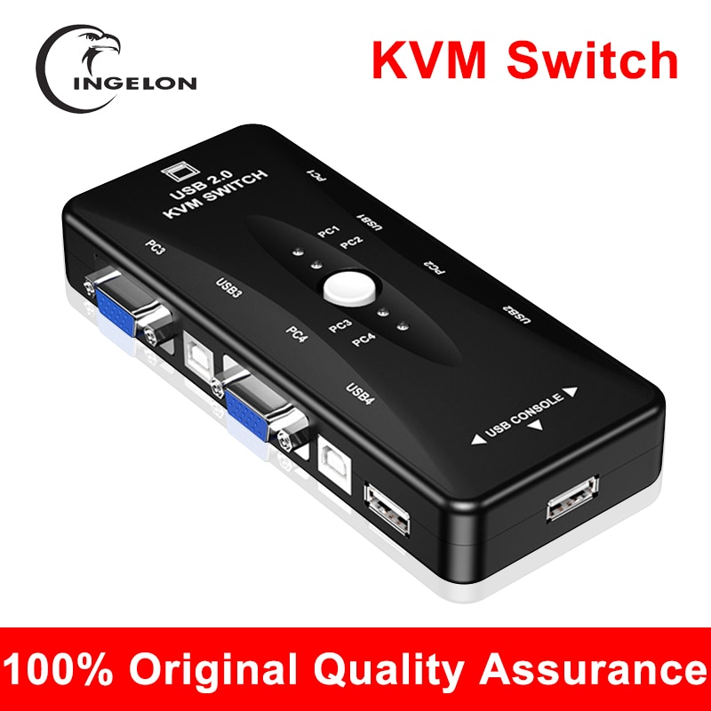 KVM Switch Keyboard Mouse Support 2Ports/4Ports Out 4K 1080P VGA Splitter 4 Ports Dvi Manual Sharing Switch 2 Monitors To 1 USB2