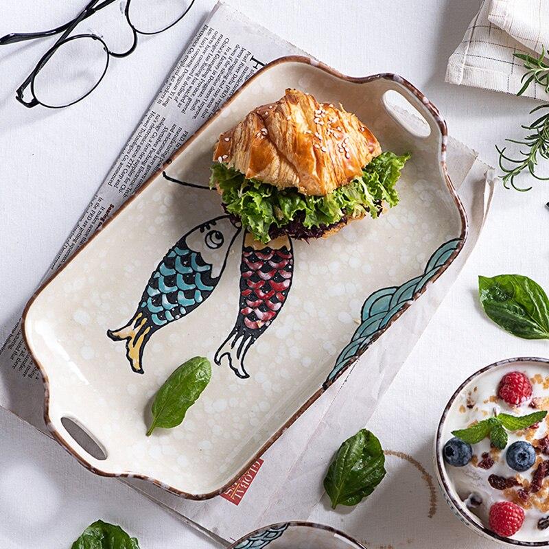 اليابانية اندرجينج مزدوجة الأذن لوحة طويلة على البخار طبق سمك طبق الإفطار طبق سمك لوحة سيراميك طبق المنزلية الميكروويف