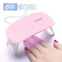 mini nail dryer 6w uv led nail lamp for nail polish gel manicure apparatus manicure tool professional art nail drying equipment