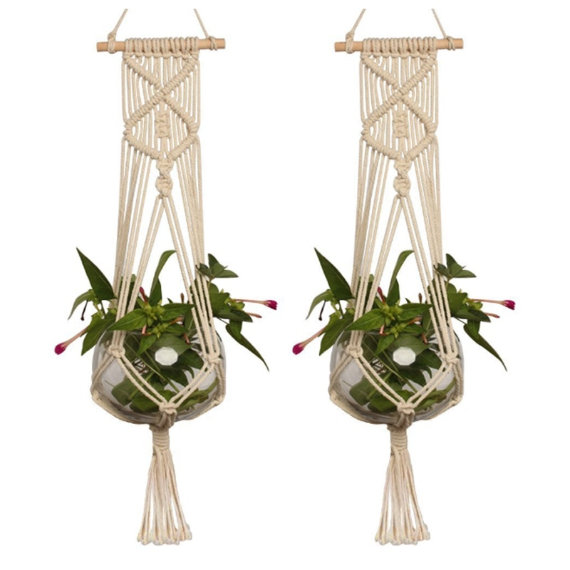 1Pcs Flower Pot Basket Plant Hangers Greening Decorations Suspension Type Hand Knitted Garden Decoration Hemp Rope Net Pocket
