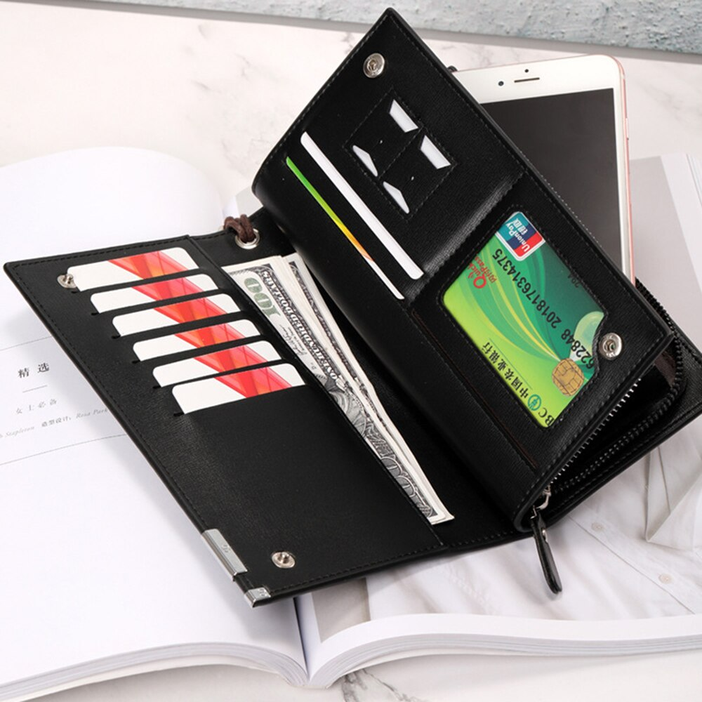 Fashion Pu Leather Men Wallets Business Phone Clutch Long Slim Storage Bag Coin Purse Multi-Card Car