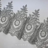 1yard silver embroidery mesh lace trims luxury sewing lace fabric handmade diy craft for wedding dresses decoration wide 31cm