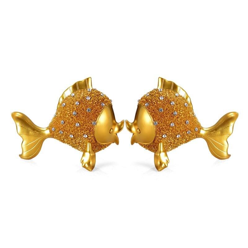 Artesanía de resina europea, escultura de pez dorado, modelo de decoración, decoración para el hogar, accesorios de fotografía, regalos de boda