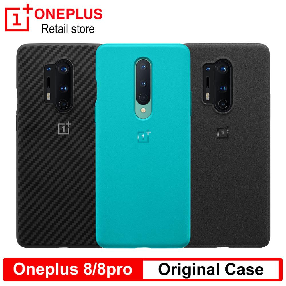 100% funda de protección Original OnePlus 8/8 Pro, arenisca Karbon, funda negra de nailon transparente para teléfono móvil one plus 8 8pro