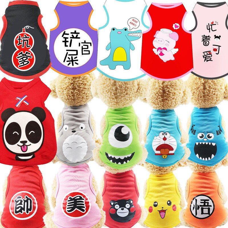 T-shirt Soft Puppy Dogs Clothes Cute Pet Dog Clothes Cartoon Clothing Summer Shirt Casual Vests for Small Pet Supplies