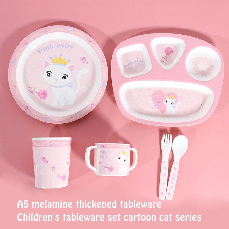 Dibujo animado de gato creativo animal patrón bebé alimentador set cuchara Bol plato taza antideslizante vajilla suministros para bebés plato para niños