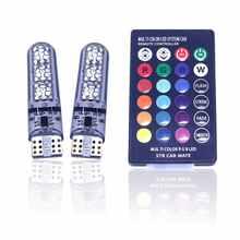 T10 W5w RGB светодиодный лампы 6SMD COB Canbus 194 168 автомобиль с пультом дистанционного управления Flash/Строб Клин светильник Габаритные огни светильни...