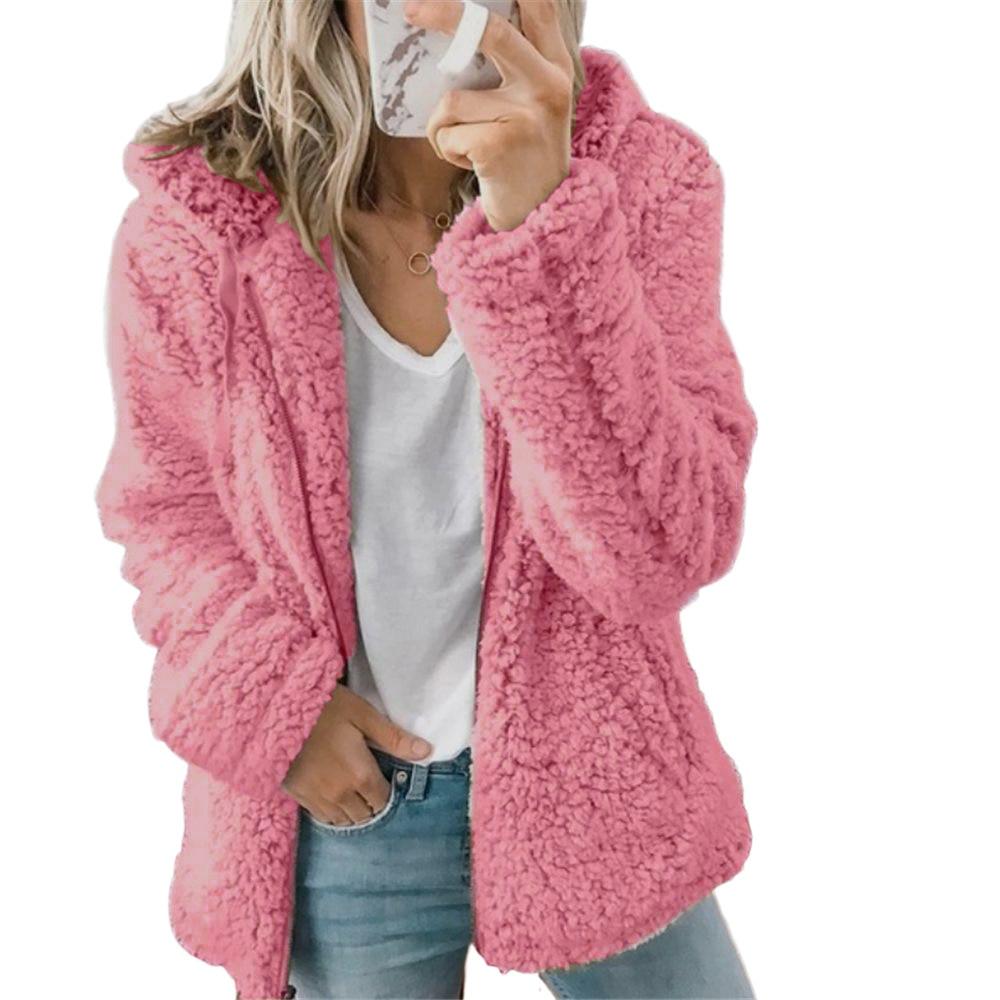 Women Soild Color Hooded Woolen Fleece Sweater Zipper Coat Autumn Winter Jacket Casual Hoodies Cardigan Outwear Plus Size Top