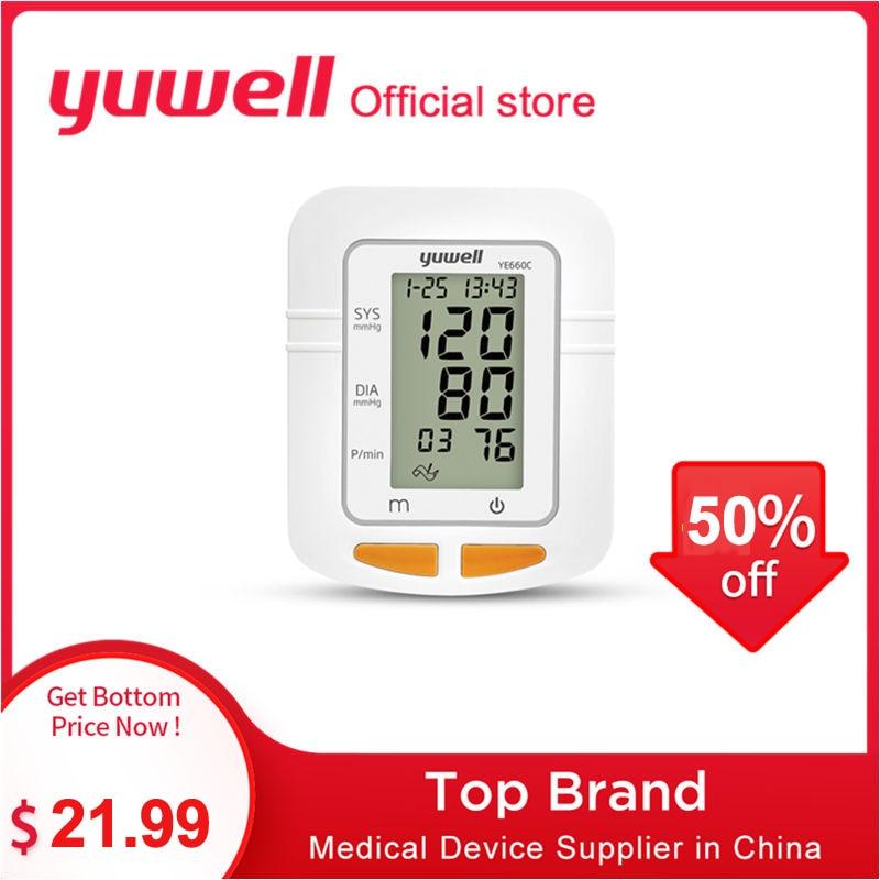 Yuwell YE660B/660C Monitor de presión arterial brazo reloj automático esfigmomanómetro Digital brazo medidor de presión arterial pantalla grande
