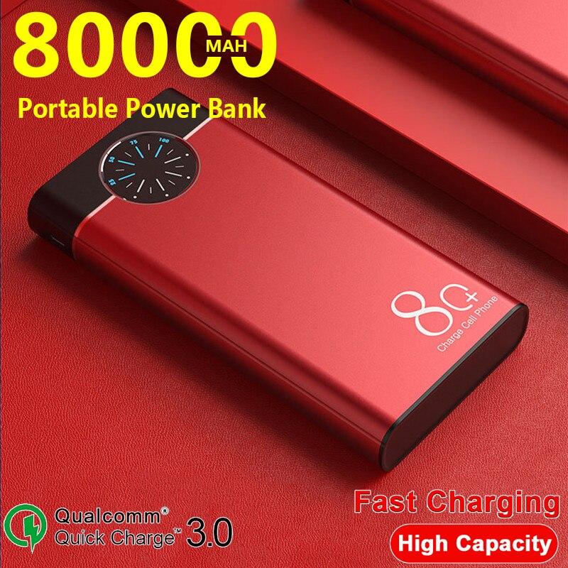 PowerBank 80000mAh المحمولة شاحن سريع الروليت عرض سبائك الألومنيوم قذيفة مع منافذ الإخراج المزدوج ل شاومي سامسونج آيفون