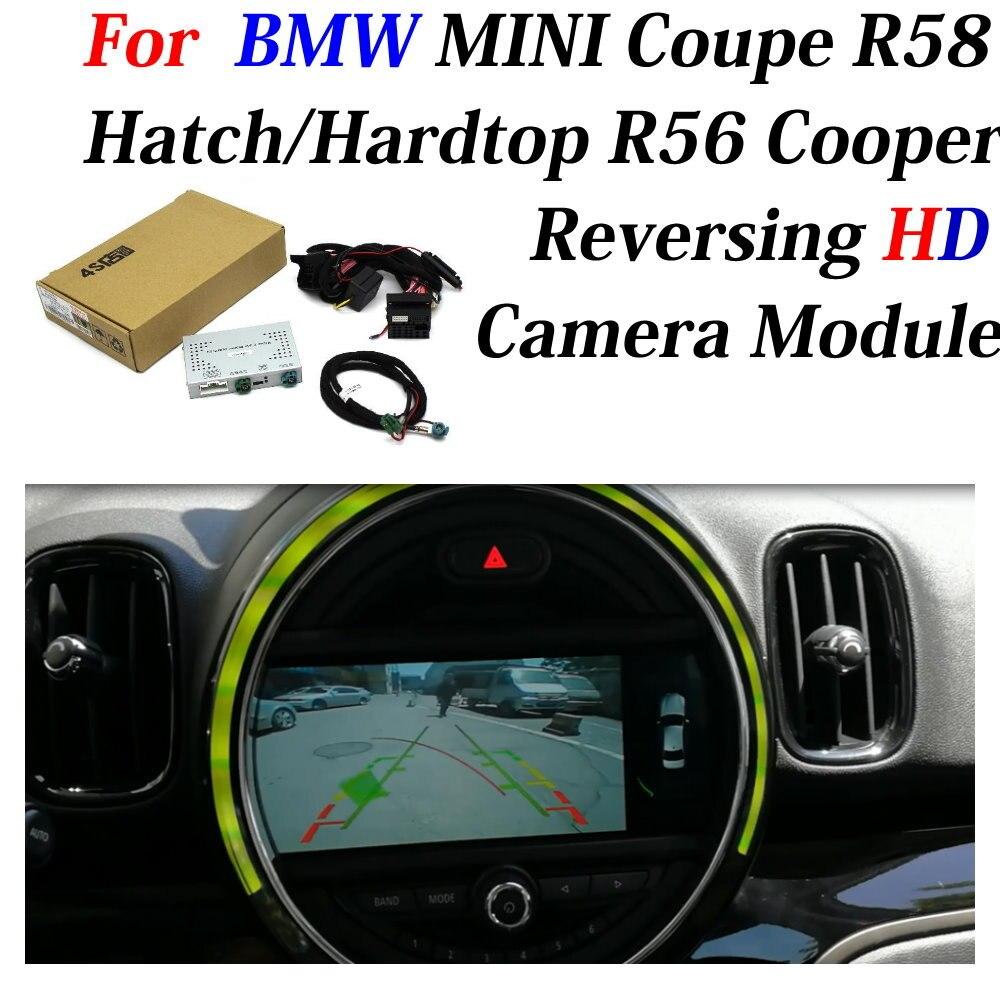 Cámara de marcha atrás de coche para BMW MINI Coupe R58 escotilla/techo R56 Cooper interfaz de pantalla decodificador del adaptador aparcamiento Bakcup cámara trasera