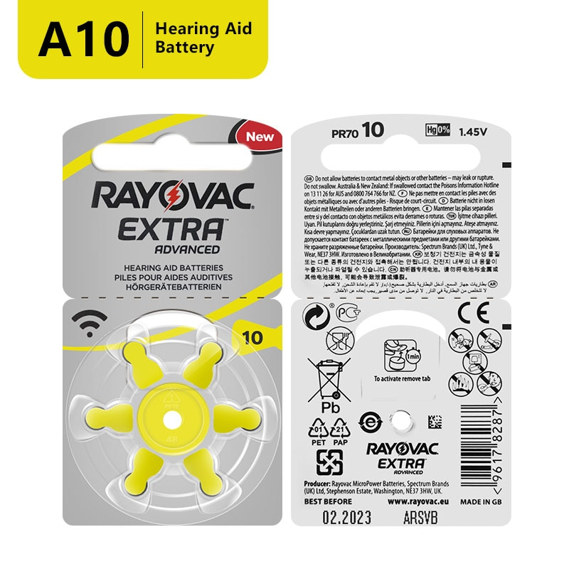 60 PCS Free Shipping Zinc Air Hearing Aid Battery 10/A10/PR536. Rayovac Extra Performance Hearing Ai