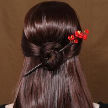 Flower Handmade Glass Hairpin Clips Bridal Crystal Flowers Wooden Hair Fork Chinese Hanfu Dress Hair