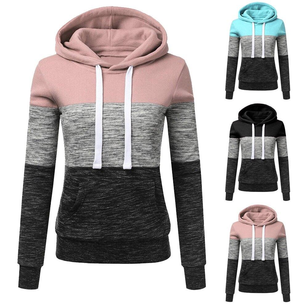 Autumn Winter Pocket Hoodies Fashion Gradient Print Patchwork Hooded Sweatshirt Women Drawstring Lon