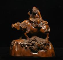 wedding decoration Chinese Boxwood Wood Carving Taoism Famoun Laozi Lao-tzu Ride Bull Oxen Statue