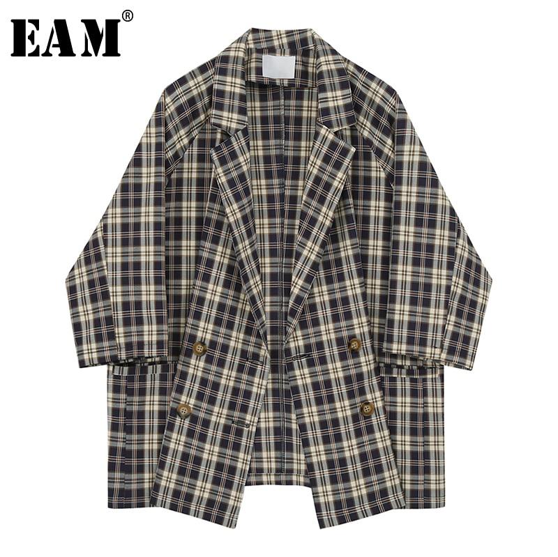 [EAM] chaqueta azul oscuro de punto de gran tamaño solapa nueva manga de tres cuartos chaqueta de ajuste suelta moda Primavera otoño 2020 1X227