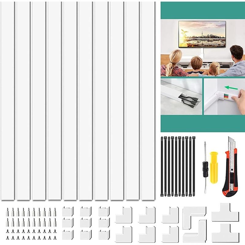 157 بوصة كابل المخفي على الحبل المخفي الجدار غطاء كابل قابل للدهن لأسلاك المخفي للتلفزيون وأجهزة الكمبيوتر في المكتب المنزلي