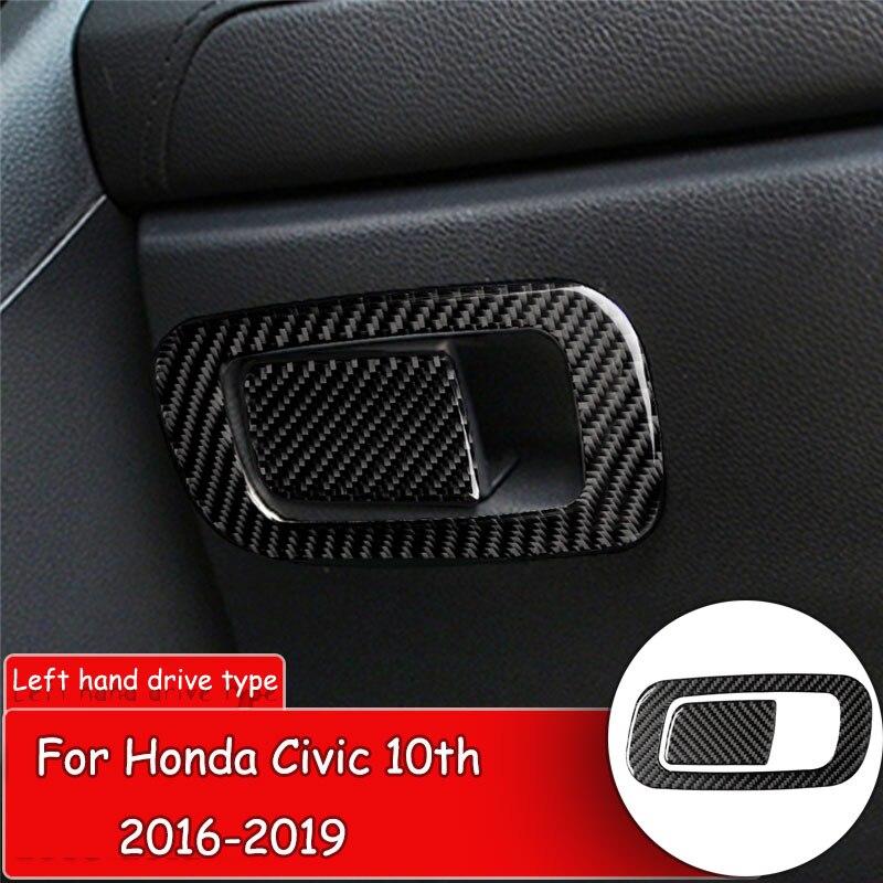 Estilo do carro Adesivo Fibra De Carbono para Honda Civic 10th 2016-19 Interior Do Carro caixa de armazenamento Do Console botão Proteger Cobertura adesivo