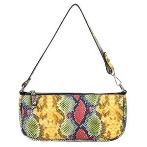 THREEPEAS Fashion Color Snake Single Shoulder Bag Women's Bag Simple Casual Pu Shoulder Handbag