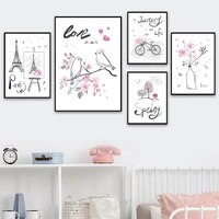 paris tower tree bird flower vase bicycle wall art canvas painting nordic posters and prints wall pictures for living room decor