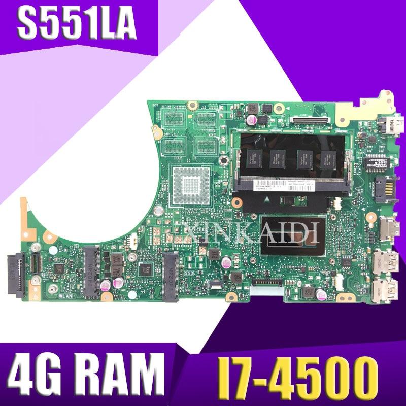 XinKaidi S551LA اللوحة الأم لأجهزة الكمبيوتر المحمول ASUS S551LA S551LB S551LN S551L R553L S551 اختبار اللوحة الرئيسية الأصلية 4G RAM I7-4500