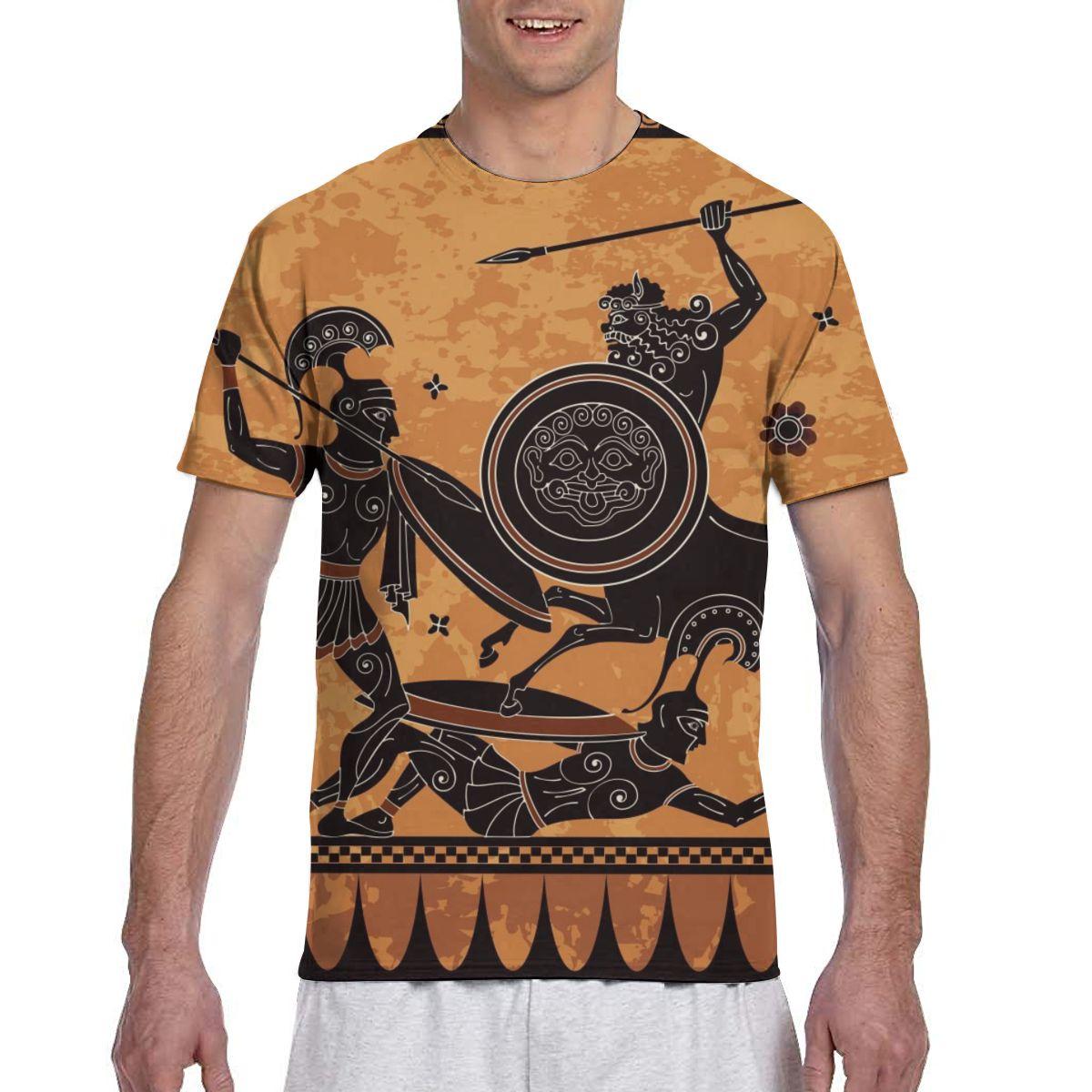 Camiseta a la moda de Guerrero griego antiguo para hombre, camiseta de verano 2020 con cuello redondo para hombre