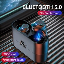 Auricular Bluetooth 5,0 9D, auriculares inalámbricos estéreo, Control táctil, IPX7, auriculares inalámbricos impermeables con caja de carga de 3000 mAh