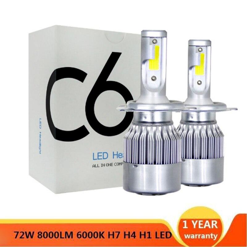 Auto coche H8 H3 H11 H7 H4 H1 faros LED 4300K 6500K 8000K blanco frío 72W 8000LM bombillas diodos piezas de lámpara de automóviles