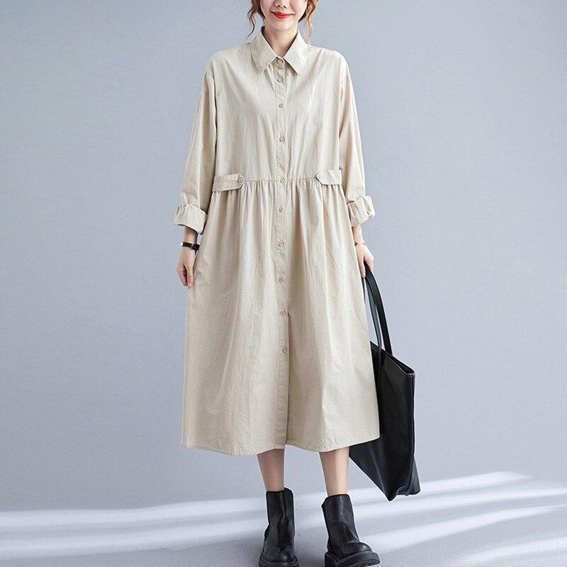المتضخم المرأة القطن فستان القميص عادية جديد 2021 الخريف أسلوب بسيط بدوره إلى أسفل طوق فضفاض السيدات ألف خط فساتين طويلة B950