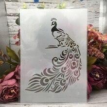 29*21cm A4 Pavo Real pluma larga DIY esténcil de capas pintura de pared libro de recortes colorear en relieve álbum plantilla decorativa