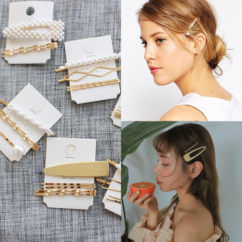 3pcs Pearl Metal Hair Clip Hairband Comb Bobby Pin Barrette Hairpin Headdress Hair Accessories Women Girls Gifts