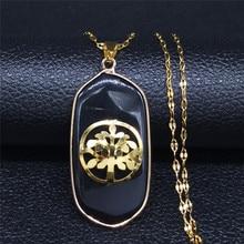 AFAWA arbre de vie couleur noire pierre naturelle en acier inoxydable sans collier omen or couleur collier bijoux cadenas mujer NB13S04
