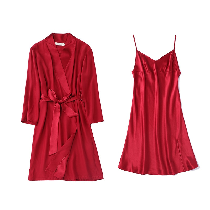 Heavy Silk Pajamas Female Summer Dress With Suspenders Dressing Gown Two Suits Loose Sexy Morning Gown Silk Spring  Women Red