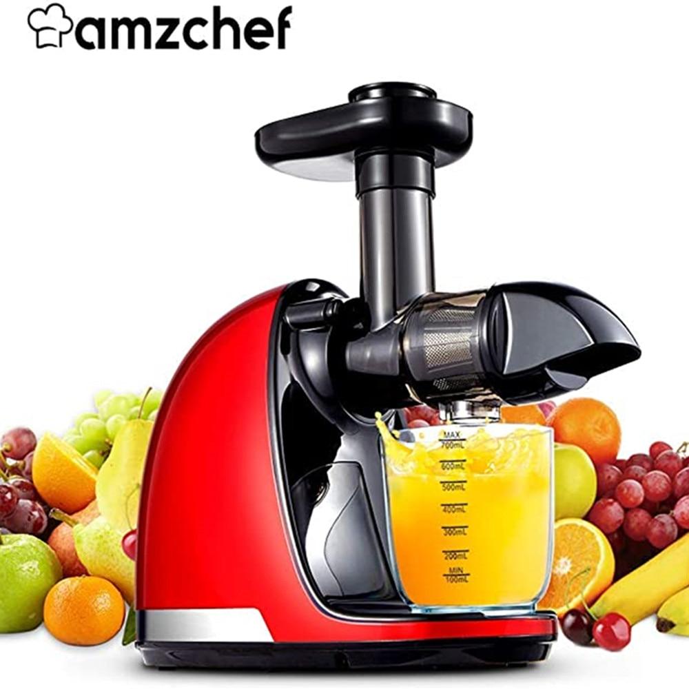 Медленная соковыжималка AMZCHEF, соковыжималка для фруктов, машина для холодного отжима, соковыжималка с фильтром, электрическая соковыжималк...