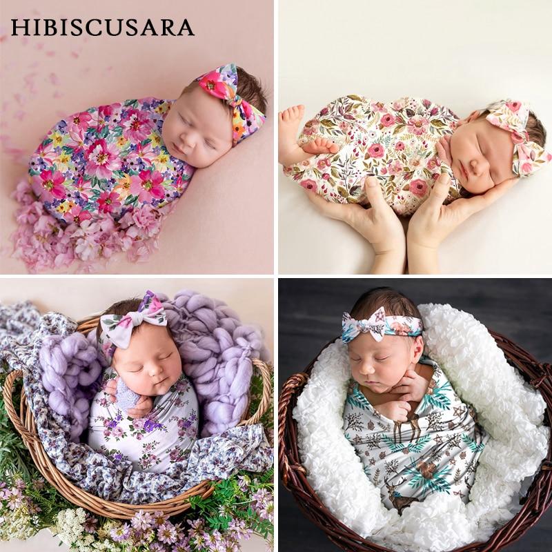الأزهار شيالة أطفال التصوير الرضع يلتف قماط مع عقال بيبي بوي فتاة صور بطانية لينة تمتد النسيج