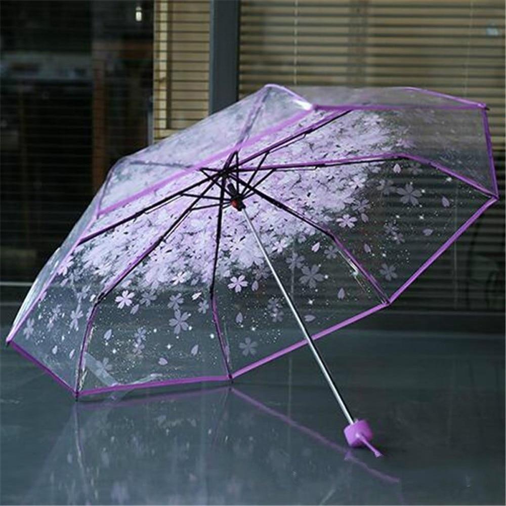 2021Umbrella Transparent Clear Umbrella Cherry Blossom Mushroom Apollo Sakura 3 Fold Umbrella paraguas Multifunctional practical enlarge