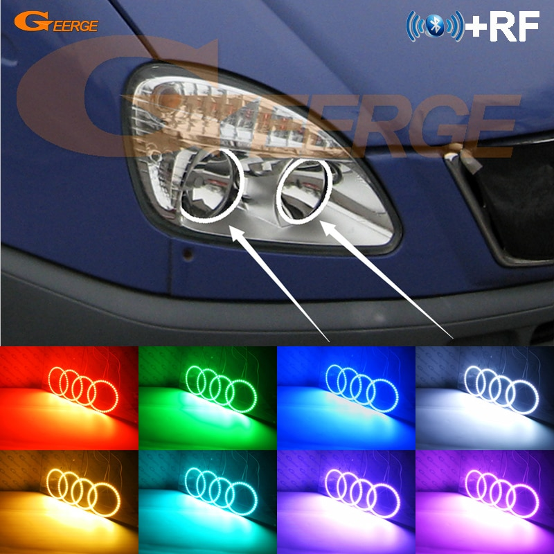For GAZ GAZelle 3302 2003 2004 2005 2006 2007 2008 2009 RF remote Bluetooth APP Multi-Color Ultra bright RGB LED Angel Eyes kit