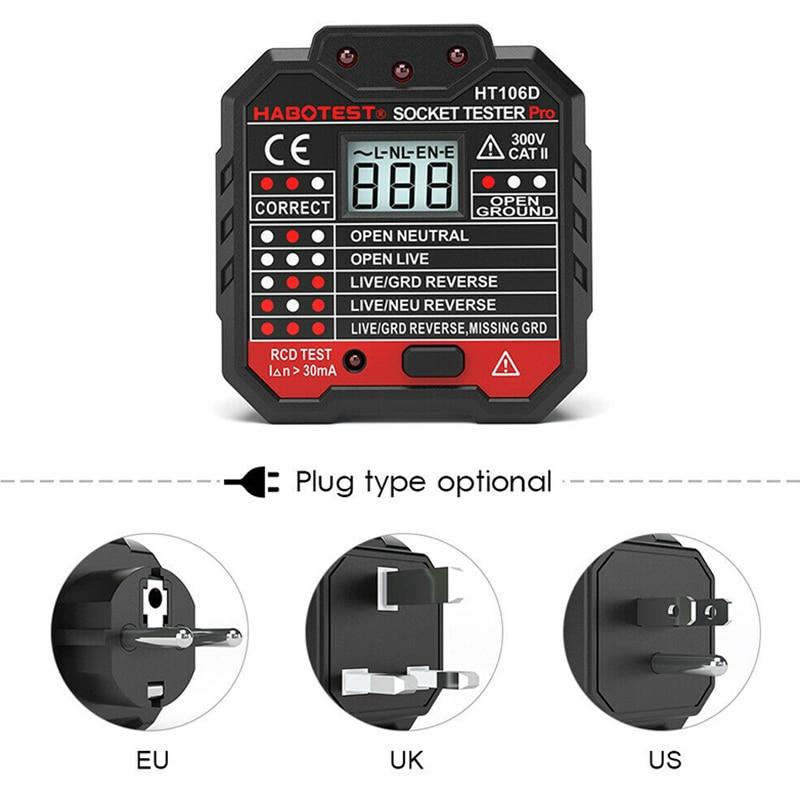 Enchufe probador de toma corriente circuito polaridad voltaje pared enchufe buscador de interruptor con RCD/GFCI ALI88
