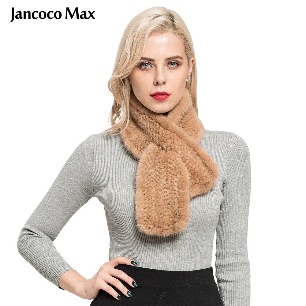 Jancoco ماكس ريال فرو منك محبوك الأوشحة النساء الشتاء شال جودة عالية السيدات التفاف التجزئة/الجملة S7106