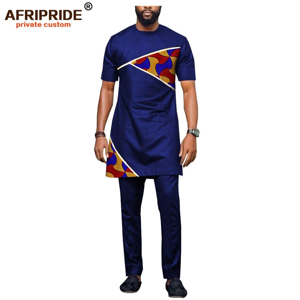 Африканская Мужская одежда, Дашики, топы и фото, костюмы из 2 частей, наряды с принтом, Повседневная Блузка, рубашки, AFRIPRIDE A1816002
