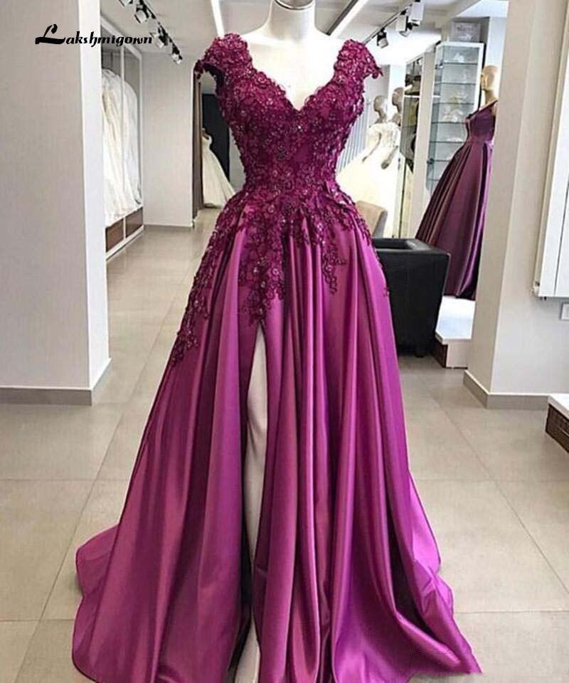 Luxury Purple Prom Dresses Deep V Neck Lace Appliques Beaded Side Split Floor Length Plus Size Mother Evening Quinceanera Party