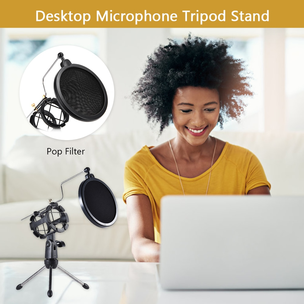 Soporte de trípode de micrófono soporte de micrófono de escritorio plegable con soporte de micrófono de montaje de choque Clip Pop Filter