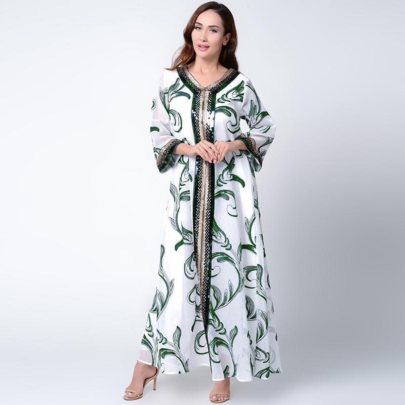 Abaya Morocco Dubai Oriental Robe Thin Casual Long Sleeve Muslim Oman Indian Dress Dress White Embroidered Ethnic Prayer Suit