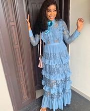 Robes africaines femmes mode dentelle revers volants gâteau Robe solide doux Vetement Femme Robe Africaine musulman islamique vêtements