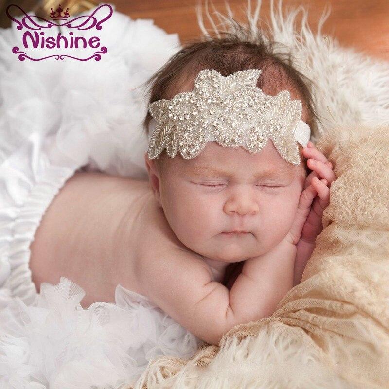 Nishine Девушки Хрустальный цветок лист крестины Свадебный эластичный головная повязка стразы волосы группы детей вечерние фотографии реквизит