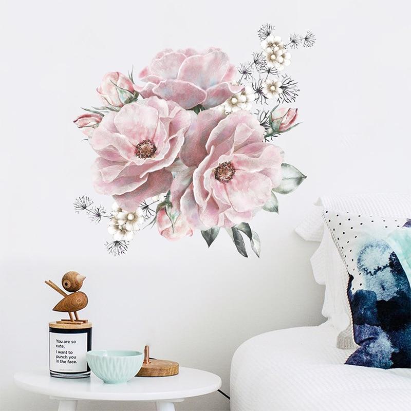 Pegatinas de pared para decoración de dormitorio, varita de flores de peonía...